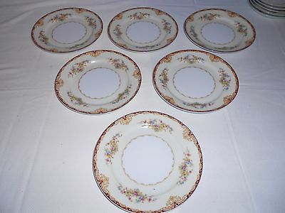 """6 Kongo China STS Dudley 7 1/2"""" Salad Plates Japan Floral with Gold Trim"""