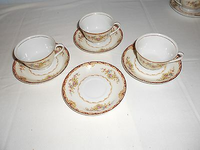 Kongo China STS Dudley Cups and Saucers Japan Floral with Gold Trim