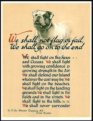 British Bulldog Ww2 Winston Churchill Not Flag Or Fail Great Dog Print Poster