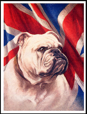 English Bulldog Head On The Union Jack Flag Great Vintage Style Dog Print Poster