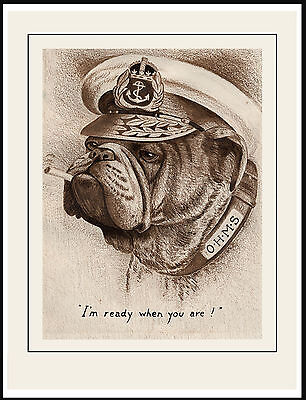 English Bulldog I'm Ready When You Are Great Vintage Style Dog Print Poster