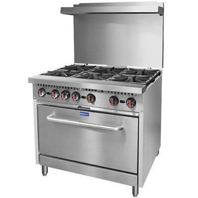 6 Burner Range with Oven & Backboard, Commercial Restaurant Kitchen Equipment