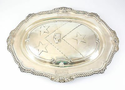 William Brown London Sterling Silver Platter Balfour Fordyce Family Crest 1824