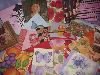 Grab Bag of 30 Single Assorted Paper Napkins, For all Ages, Decoupage, Mixed Lot