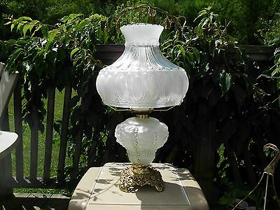 BEAUTIFUL Antique Frosted/Satin Beaded Glass OIL LAMP w/Brass Base, Queen Anne
