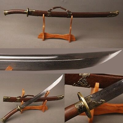 High quality Folded steel Chinese Qing dynasty groove sword Rosewood 凤凰清刀