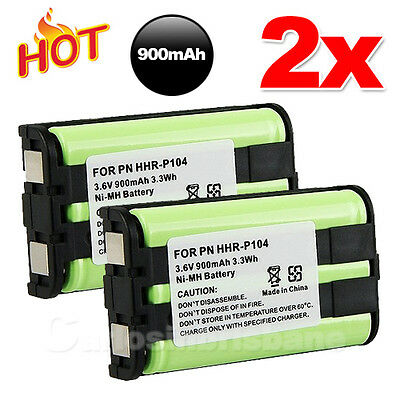 J For Panasonic HHR-P104 Cordless Phone Battery Compatible Ni-MH 3.6V 900mAh 2X