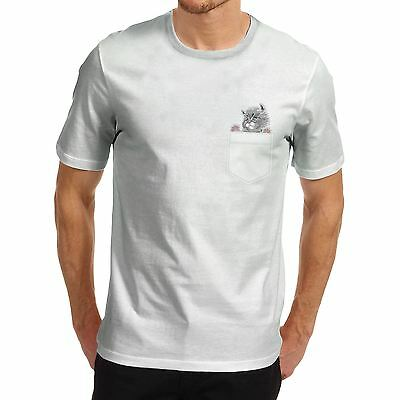 Men's Cat In A Pocket Cute Funny Graphic T-Shirt