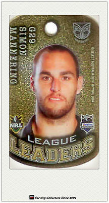2010 Select NRL Collectable Stars Tags Gold Tag G29 Simon Mannering (Warriors)