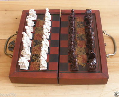 Chinese Army Style 32 Pieces Chess Set Leather Wood Box 1