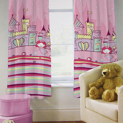 """Children's Bedroom Curtains Princess Castle Girls 66"""" by 72"""" with Tiebacks Baby"""