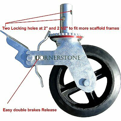 """Scaffold 8"""" Rubber Caster Wheel with Double Locking Brakes and Two Looking holes"""