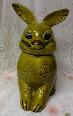 Rare Vintage Large Green Bunny Rabbit Easter Cookie Jar VERY CUTE