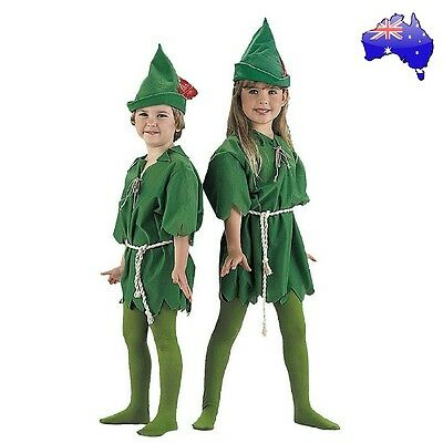 Kids Peter Pan Green Elf Robin Hood Halloween Fancy Dress Party Costume