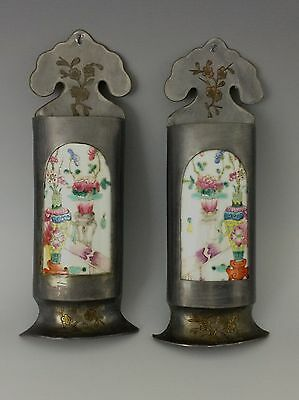 Pair of Chinese Famille Rose Porcelain Plaques Mounted in Wall Pocket Vases