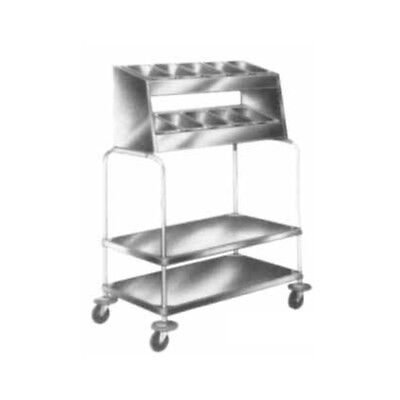 "Piper Products Stainless Steel Tray/Silverware Cart 36""L x 21""W x 55""H 715-2-P10"