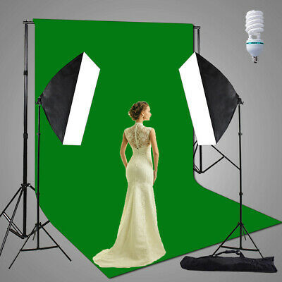 3x6M Green Screen Photography Studio Soft box Lighting Muslin Backdrop Stand Kit