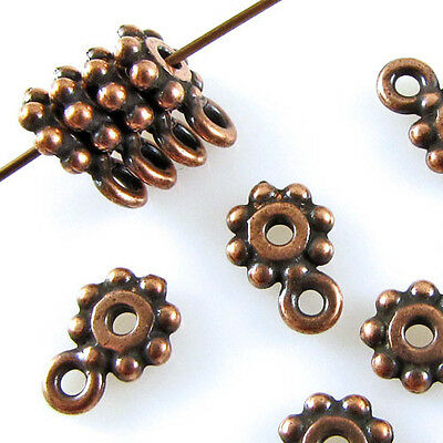 TierraCast Pewter Spacer Beads-ANTIQUE COPPER DAISY HEISHI + LOOP 7mm (10)