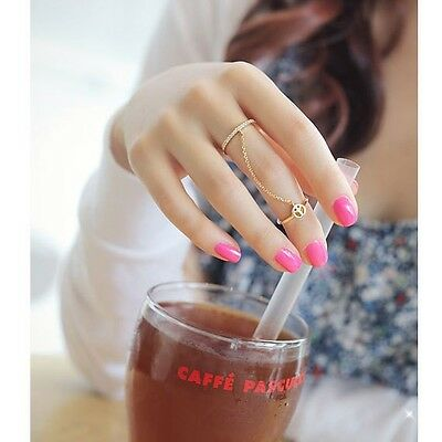Hot New Lady Fashion Gold Thin Simple Chain Peace Love Charm Crystal Double Ring