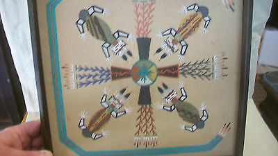 NAVAJO INDIAN SAND ART by RUBY BEGAY, 4 INDIANS WITH CROPS