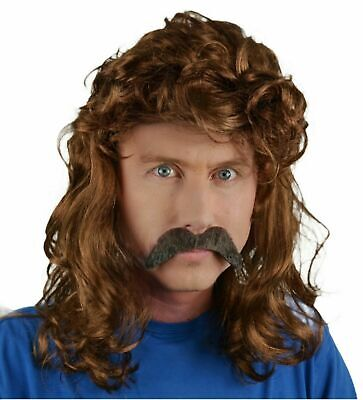 Mullet Style Long Men's Fancy Dress Wig & Droop Self Adhesive Moustache. Uk Disp