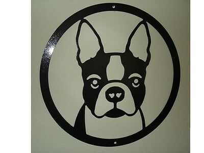 BOSTON TERRIER metal steel PAINTED SILHOUETTE USA made wall plaque