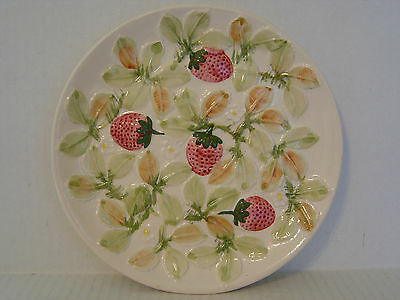 VINTAGE NEUWIRTH PORTUGUESE POTTERY PLATE WITH RAISED STRAWBERRY PATTERN