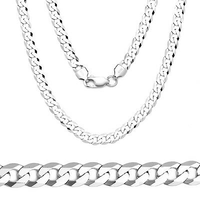 3mm Solid 925 Sterling Silver Cuban Curb Link Italy Italian Men's Chain Necklace