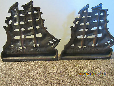 "Pr Of Old Cast Iron ""yankee Clipper"" Bookends"