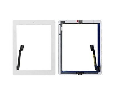 For iPad 3 Digitizer White Replacement Screen Touch Glass + Home Button Adhesive