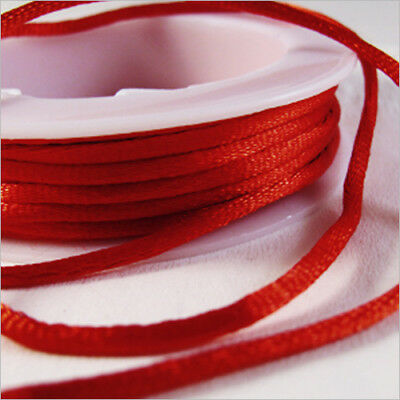 Cordon Satin Queue de Rat 2mm – 5 Mètres Rouge