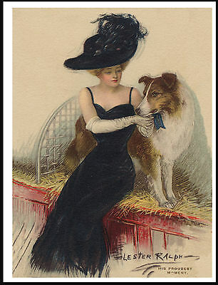 ROUGH COLLIE AND LADY OWNER AT A SHOW LOVELY VINTAGE STYLE DOG PRINT POSTER