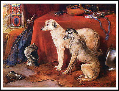 Scottish Deerhound Two Dogs In A Classic Setting Lovely Image Dog Print Poster
