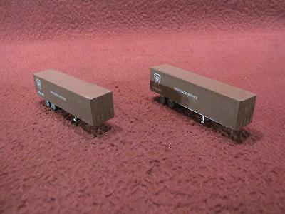 N-Scale (2) Pennsylvania Prr Piggyback Service Shipping Container Trailers