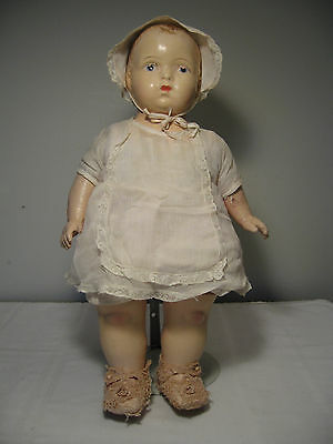 "ANTIQUE VINTAGE 18"" AMERICAN CHARACTER COMPOSITION DOLL with ORIGINAL CLOTHING"