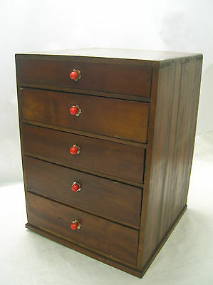 Vintage Chestnut Wood Office Box Japanese Drawers Circa 1950s #255
