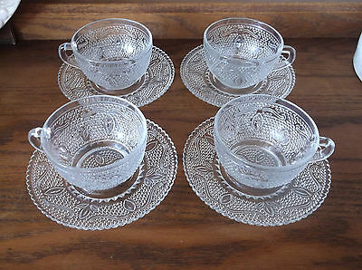 4 Federal Glass Heritage Cup and Saucer Sets Mid Century 1940s - 1955