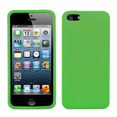 For Apple iPhone 5S/5 Solid Skin Case Cover (Dr Green)