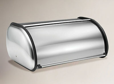 New Stainless Steel Bread Loaf Storage Bin Kitchen Box Packed Silver Roll Top