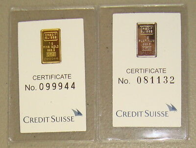 1 Gram Credit Suisse Gold Bar & 1 Gram Credit Suisse Platinum Bar