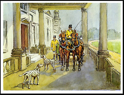 Dalmatian Dogs Coach And Horses Outside Stately Home Great Dog Art Print Poster