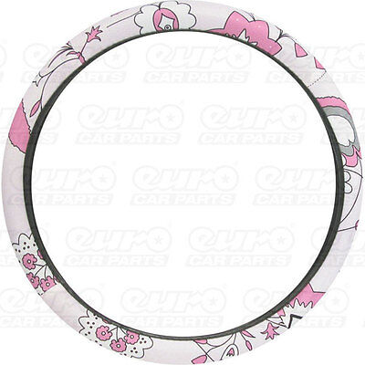 Ladyline Car Steering Wheel Cover Pink Flower Accessory - Carpoint CPT2510021