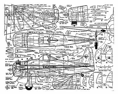 """Model Airplane plans 1/16 Scale Control Line 27"""" .19-.29 Gulfhawk Plan & notes"""