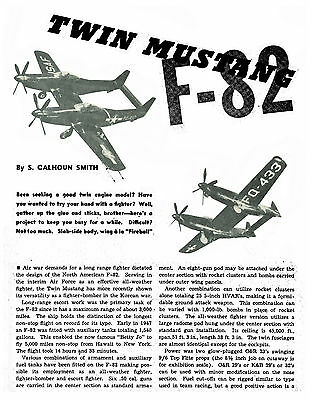 """Vintage 1952 1 /16 Scale 38"""" 2= .23-.32 F 82 Twin Mustang Model Airplane Plans"""