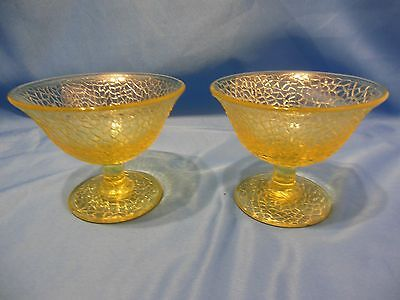 Two Lovely Vintage Pressed Glass Crackle Canary Dessert/Sherbert Cups,Smith Co