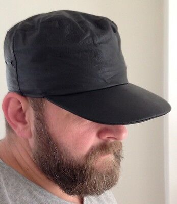Leather Army Style Peaked Hat Cap One Size Fits All