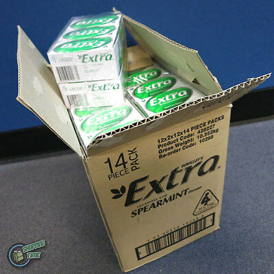 1 Carton 24x14pcs Wrigley's EXTRA Green Spearmint Flavour Sugarfree Chewing Gum