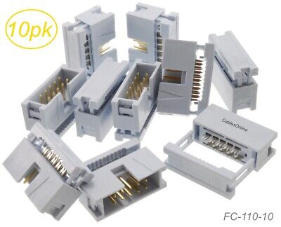 10-Pack 10-Pin Male IDC Flat Ribbon Cable Box Header 2.54mm Pitch Connectors