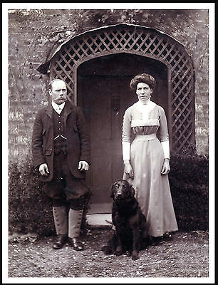 Flat Coated Retriever Lady Man And Dog Lovely Vintage Style Dog Print Poster