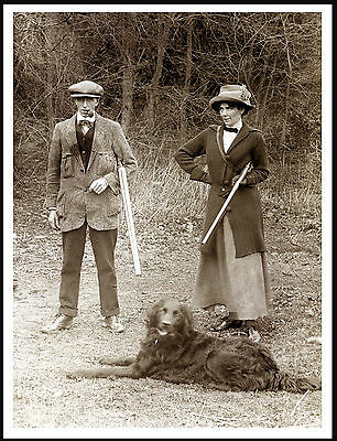 Flat Coated Retriever Lady Man And Guns Lovely Old Style Shooting Print Poster